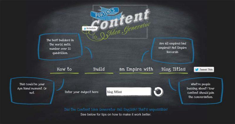 Blog Titles Generator Portent
