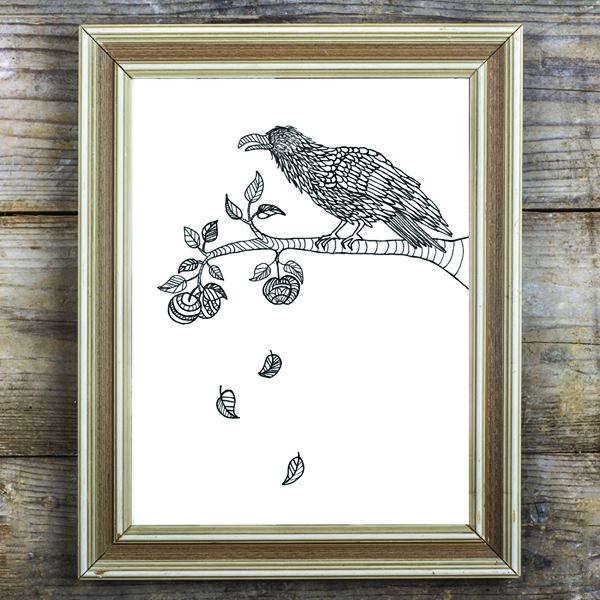 Crow in Apple Tree Coloring Page