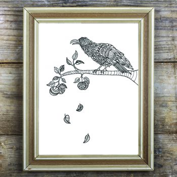 Crow in Apple Tree Free Coloring Page