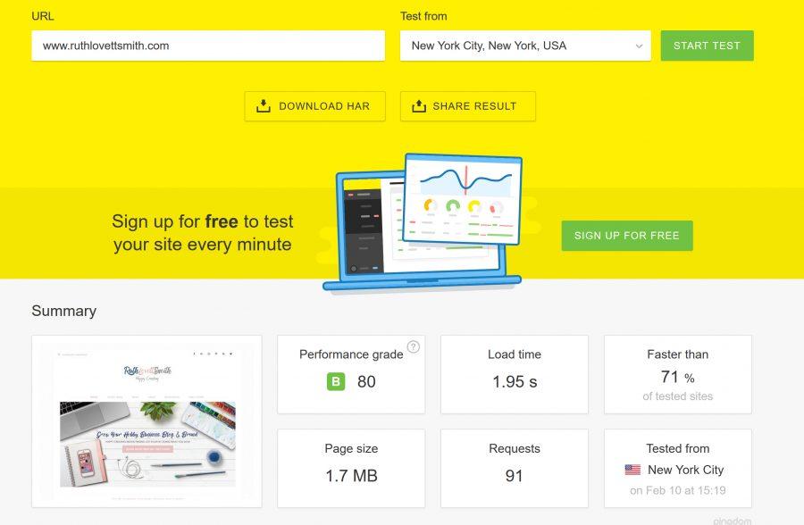 Pingdom Blog Speed Test