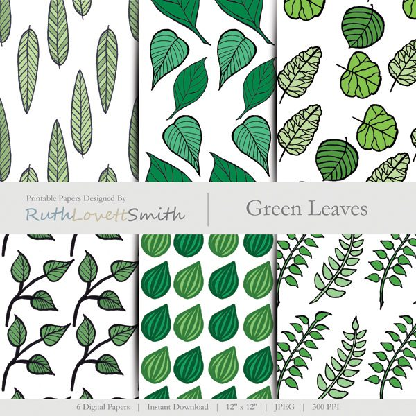 Green Leaves Printable Paper
