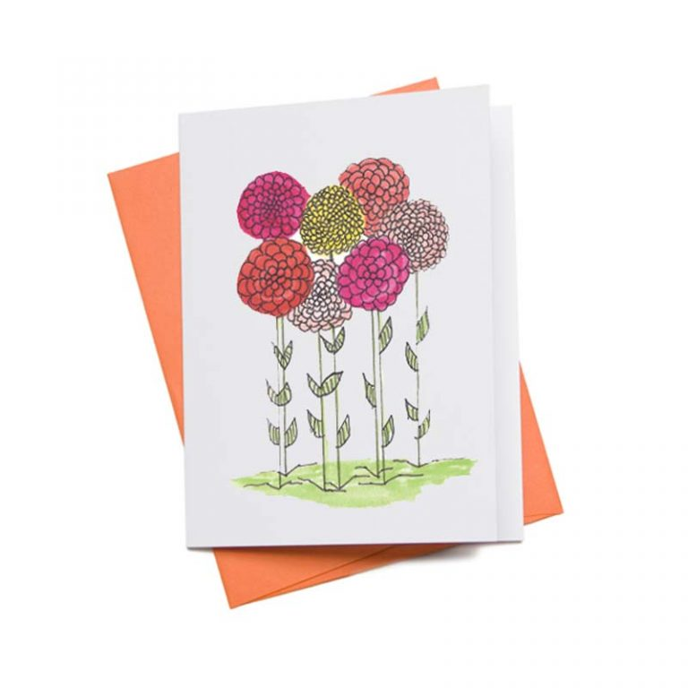 Free Printable Zinnia Floral Greeting Card