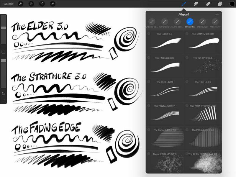 Free Procreate Brushes Comic Ink Brush Set