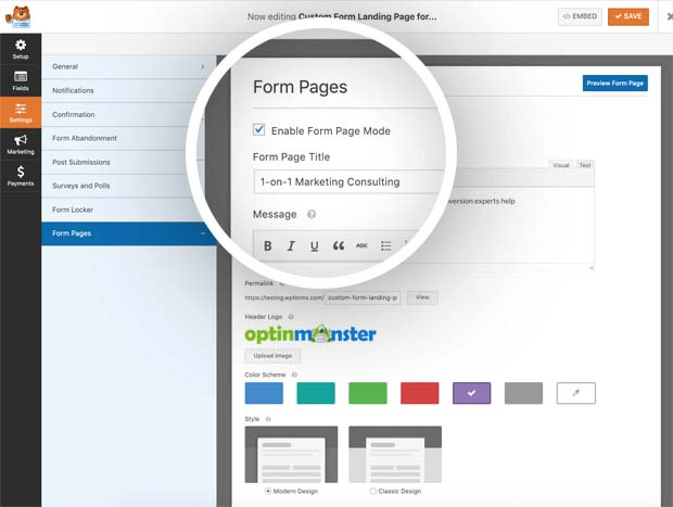 WPForms Form Pages Addon
